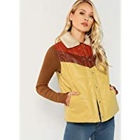 INFASHION Women's Multicolor Casual Fleece Collar Color Block Faux Leather Puffer Jacket
