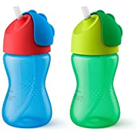 Philips Avent My Bendy Straw Cup 10oz 2pk Blue/Green SCF792/21 [並行輸入品]