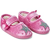 Tootsie Style Little Girls/Toddler Hard Rubber Bottom Mary Jane Ballerina Glitter Star Pink House Slippers (11-12)
