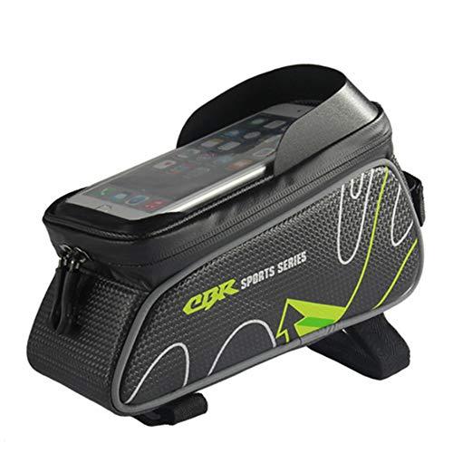 LSP-tech サドルバッグ ロードバイク フレームバッグ 自転車 防水 大容量 6.0インチスマホ対応 (グリーン)