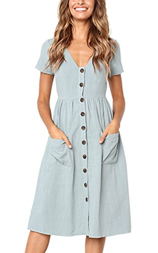 Angashion Women's Dresses-Short Sleeve V Neck Button T Shirt Midi Skater Dress with Pockets
