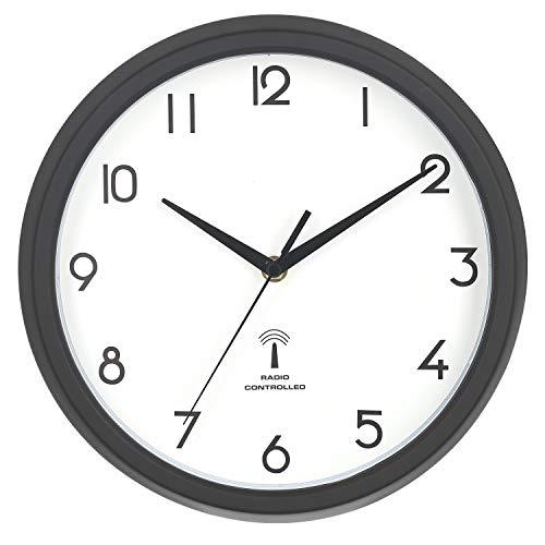 不二貿易(Fujiboeki) 電波掛け時計 ブラック 直径27cm カペラ 27269