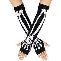 Unisex Stretchy Fingerless Hand Warmer Skeleton Gloves