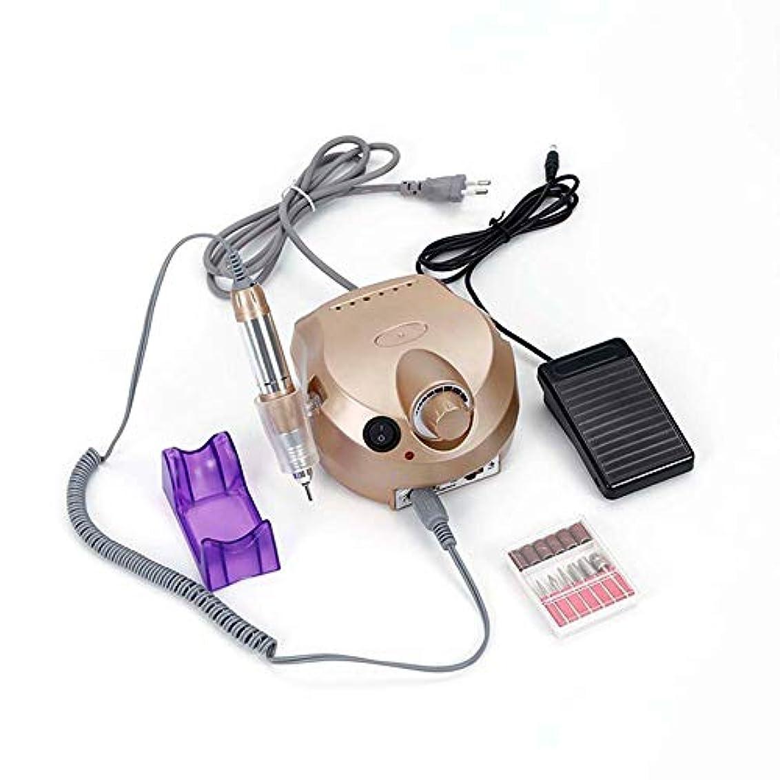 擁するアクセスできないコード電動ドリルファイル機セット30ワット30000 rpmプロの研磨機ペディキュアとマニキュアセットネイルサロンツール,Gold
