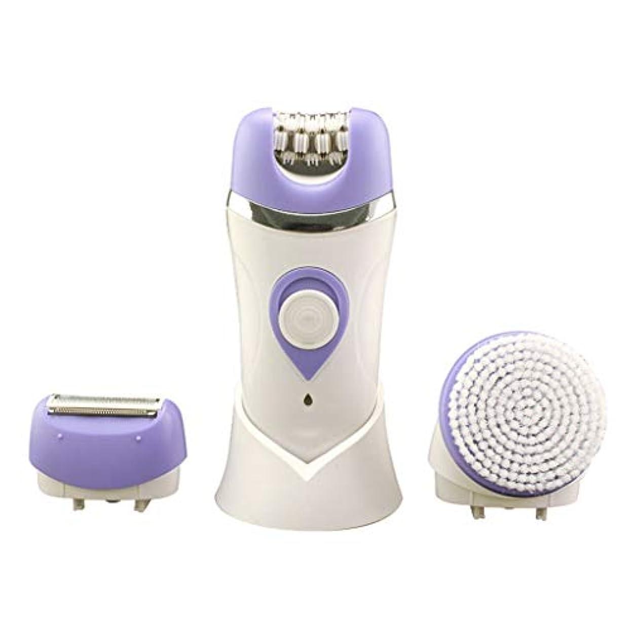 出費出身地パニック女性用電気かみそり、女性用充電式防水脱毛器3 in 1多機能は、足と体から余分な髪を取り除きます (Color : Purple)