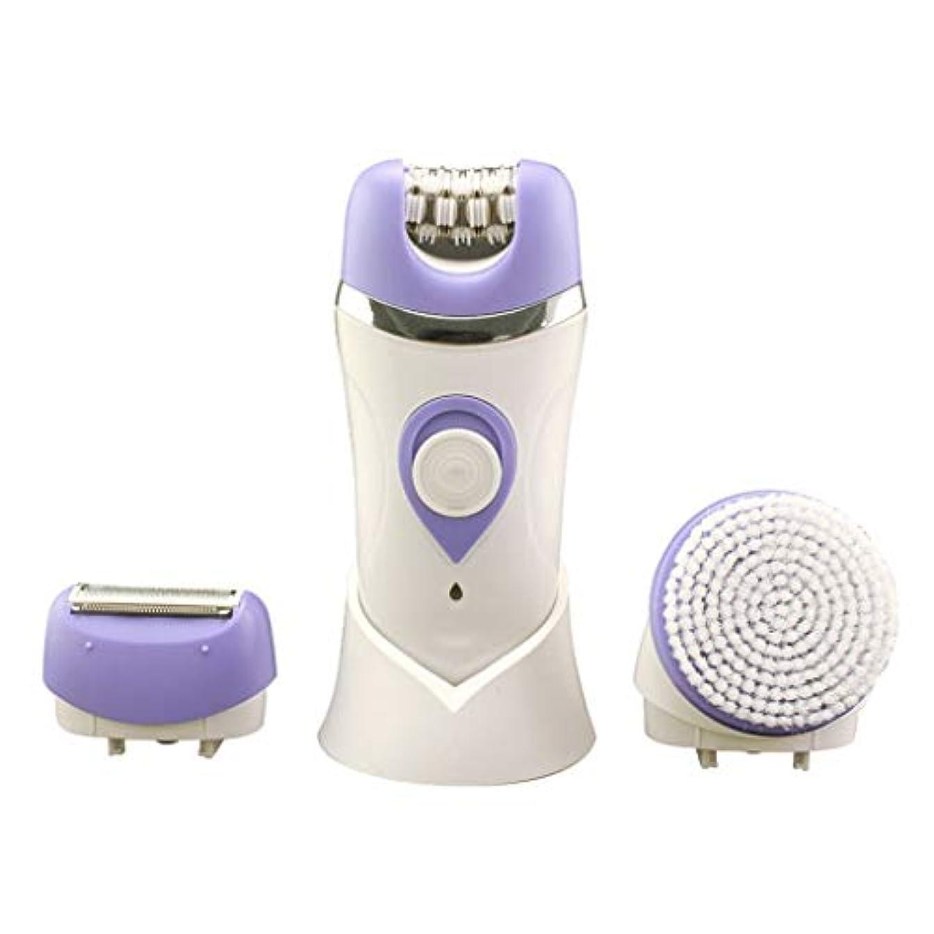 可能彼女の召喚する女性用電気かみそり、女性用充電式防水脱毛器3 in 1多機能は、足と体から余分な髪を取り除きます (Color : Purple)