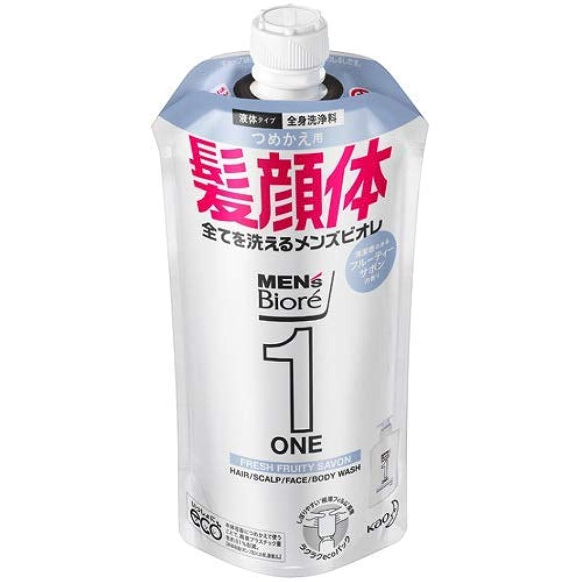 ご予約リング懐疑的【10個セット】メンズビオレONE オールインワン全身洗浄料 清潔感のあるフルーティーサボンの香り つめかえ用 340mL