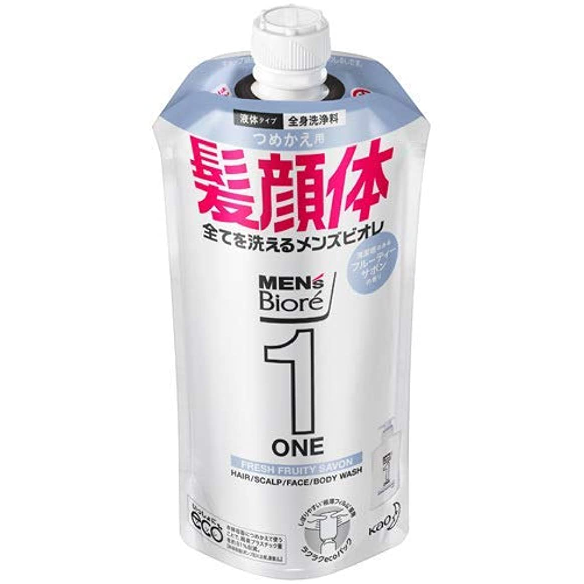 汗重要性パラナ川【10個セット】メンズビオレONE オールインワン全身洗浄料 清潔感のあるフルーティーサボンの香り つめかえ用 340mL