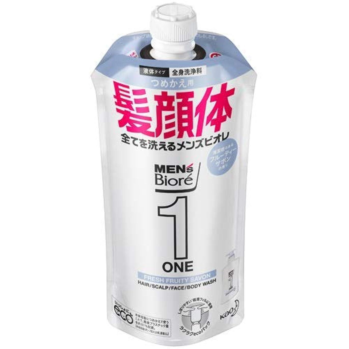賢明な緊張ヒゲクジラ【10個セット】メンズビオレONE オールインワン全身洗浄料 清潔感のあるフルーティーサボンの香り つめかえ用 340mL