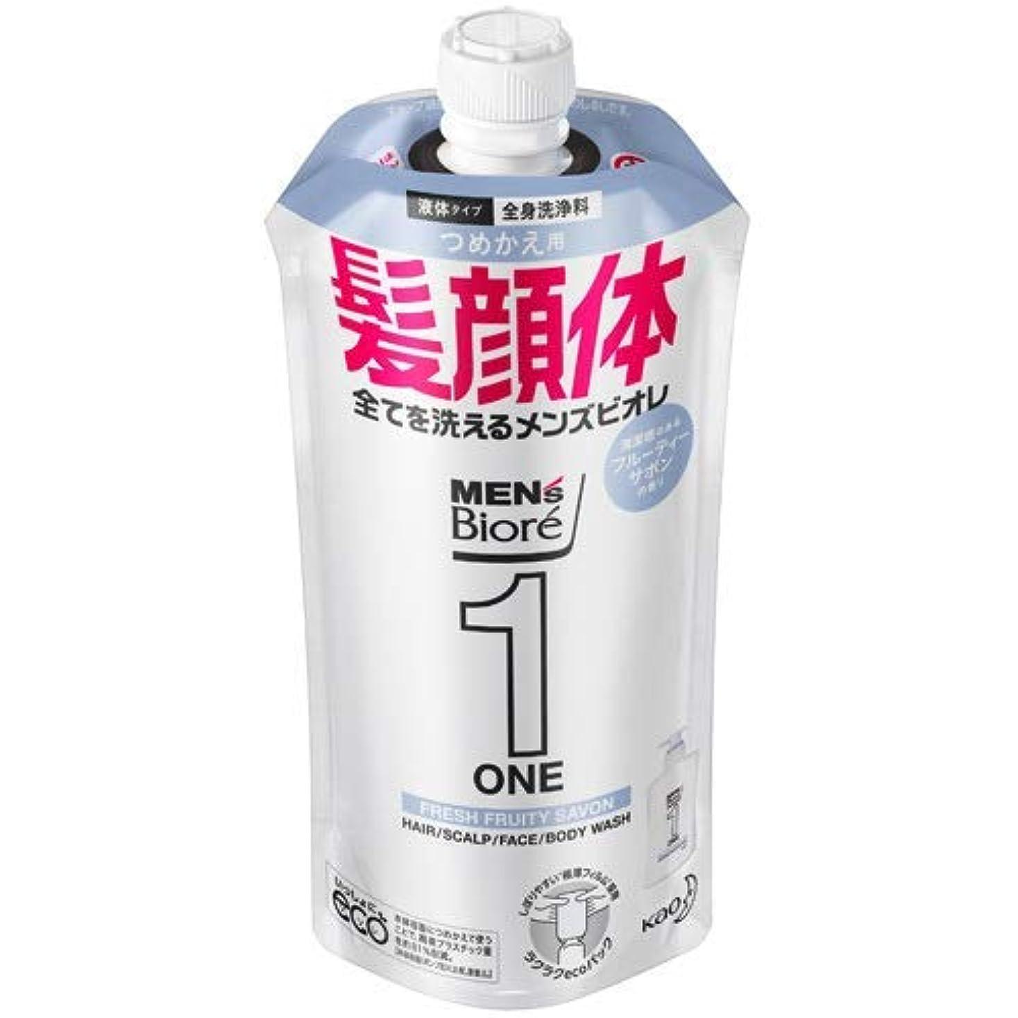 ドライ盆地拍車【10個セット】メンズビオレONE オールインワン全身洗浄料 清潔感のあるフルーティーサボンの香り つめかえ用 340mL