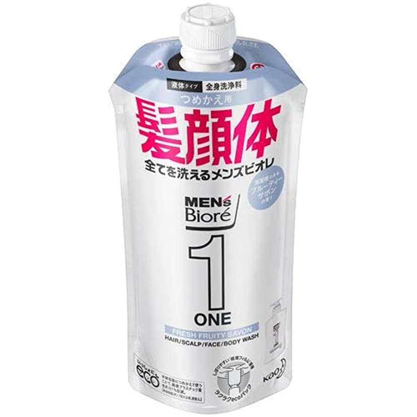 人気の植物学押す【10個セット】メンズビオレONE オールインワン全身洗浄料 清潔感のあるフルーティーサボンの香り つめかえ用 340mL