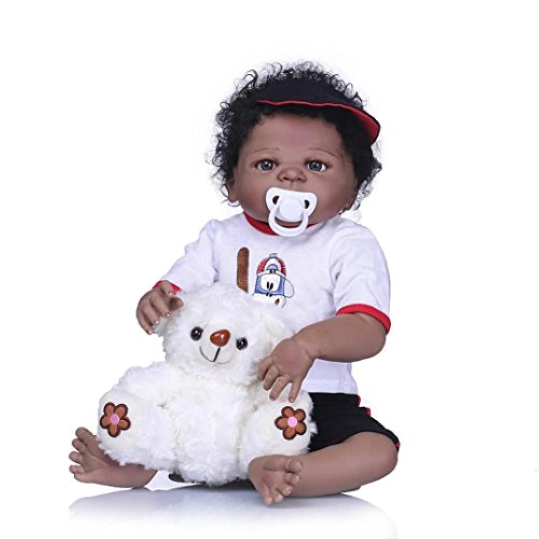 dirance 22インチLifelike Reborn人形Sleeping Open EyesソフトシリコンフルボディリアルなAmericanブラックガール人形ビニールreallike新生児赤ちゃん人形Outfits ,子供ギフトfor Ages 3 + F ブラック DR