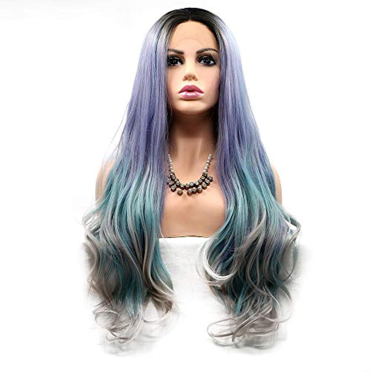 トランクライブラリ昼寝あなたのものヘアピース 化学繊維のかつらの真ん中に設定された女性のためのかつら長い巻き毛ヨーロッパとアメリカのかつらセット-紫-緑-グレー-グラデーション
