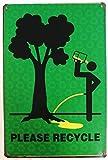 Charming Crew 復古調 ブリキ看板 アメリカン ガレージ 標語 格言 英文 英語 リサイクル プリーズ ジョーク 復刻版 アンティーク風 雑貨 おしゃれ インテリア Please Recycle