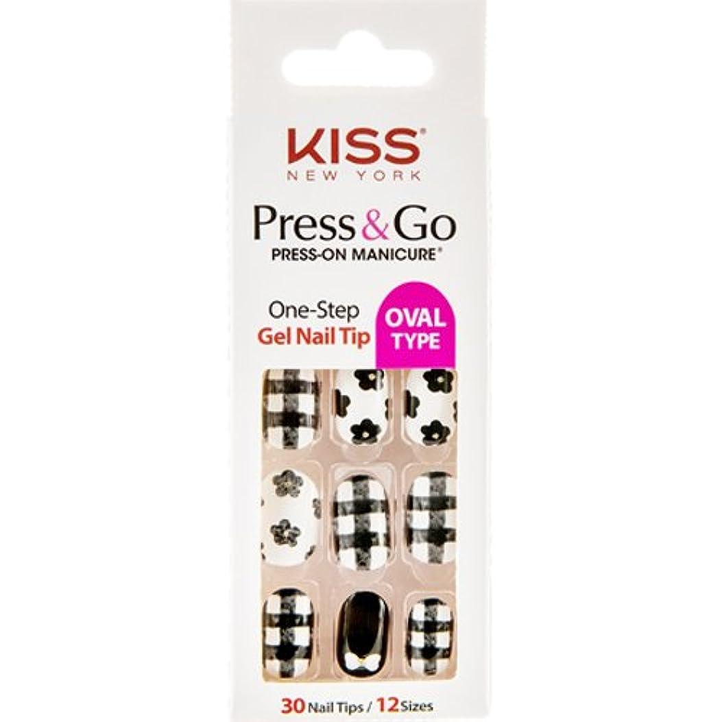 騒不適石の[KISSNEWYORK]キスニューヨークプレスアンドゴーフラワーチェック(楕円形オーバルタイプ)/1秒成形ネイルPNG0110K付けるネイルPRESS&GO PRESS-ON MANICURE One-Step Gel...