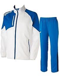 アリーナ(arena) クロスジャケット&パンツ上下セット(ホワイト/ブルー) ARN-4300-WTBU-ARN-4301P-BUDN