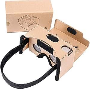 Smilemall VRカードボード スマホゴーグル 3Dメガネ 3D体験組み立て式メガネ 3.5~5.5インチのiPhone/Androidスマホに対応 ベルト付き