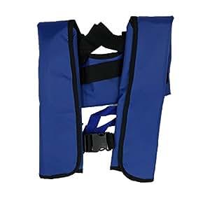 Quoll CE認証済 ライフジャケット 救命胴衣 防災グッズ ベストタイプ 瞬時に膨らむ 手動膨張 ボンベ 釣り 4色から選択 (ブルー)