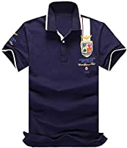(SGL Collection) ポロシャツ メンズ 半袖 デザイン ワッペン 刺繍 ライン スリムフィット 薄手 スキッパー 5色選択 S ~ XXXL 【日本向けサイズ仕様】