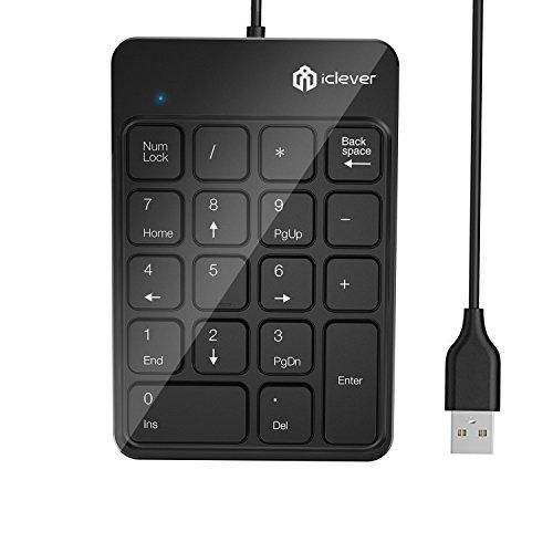 iClever テンキー キーボード 有線 usb接続 数字キーボード 18キー ナンバーパッド 小型 持ち運び 高耐久 Windows 対応 ( ブラック ) IC-KP06 (有線)