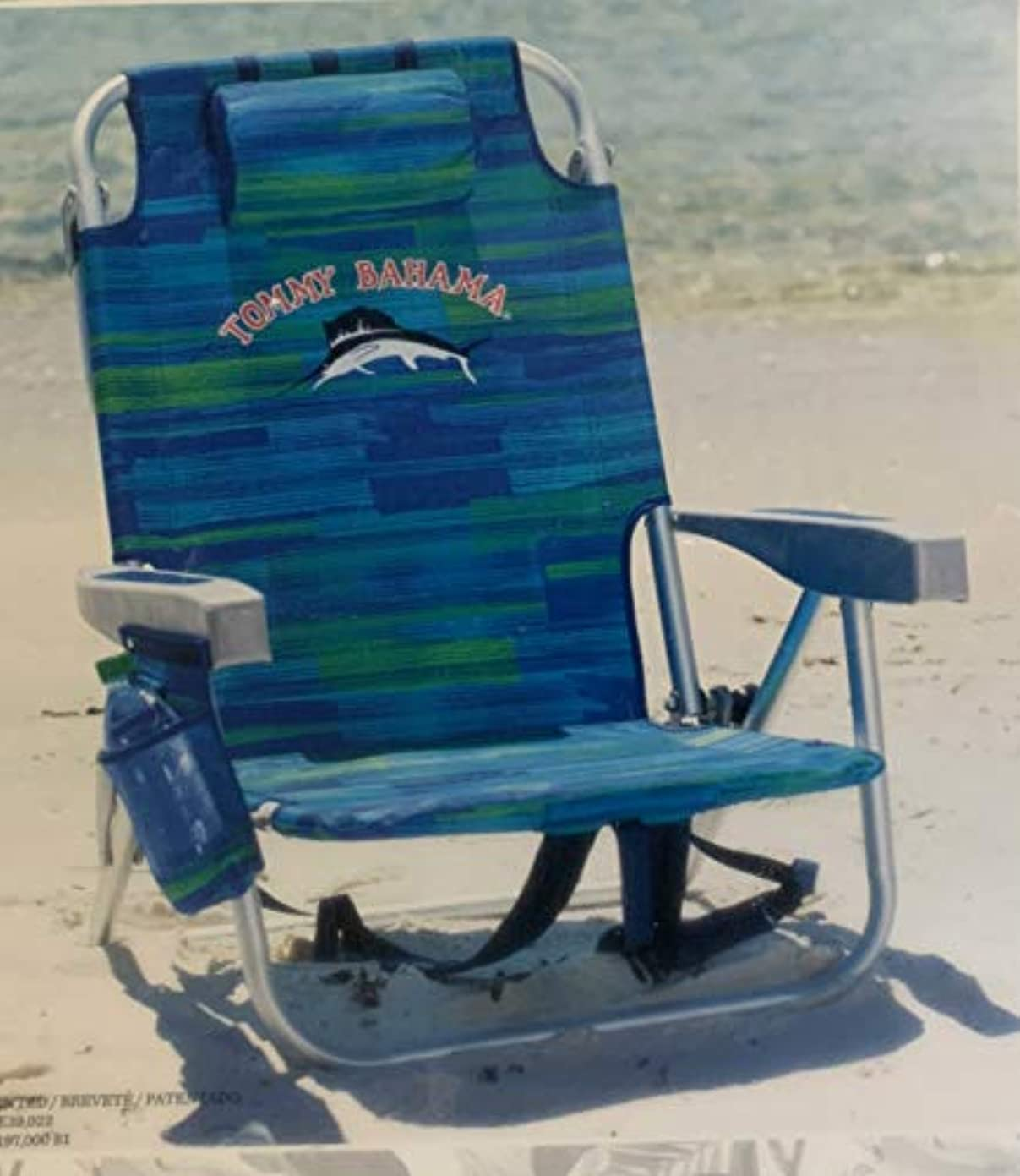 このママ路地TOMMY BAHAMA バックパックビーチチェア 屋外専用 折り畳みチェアー/ショルダーストラップ付き/耐荷重136kg