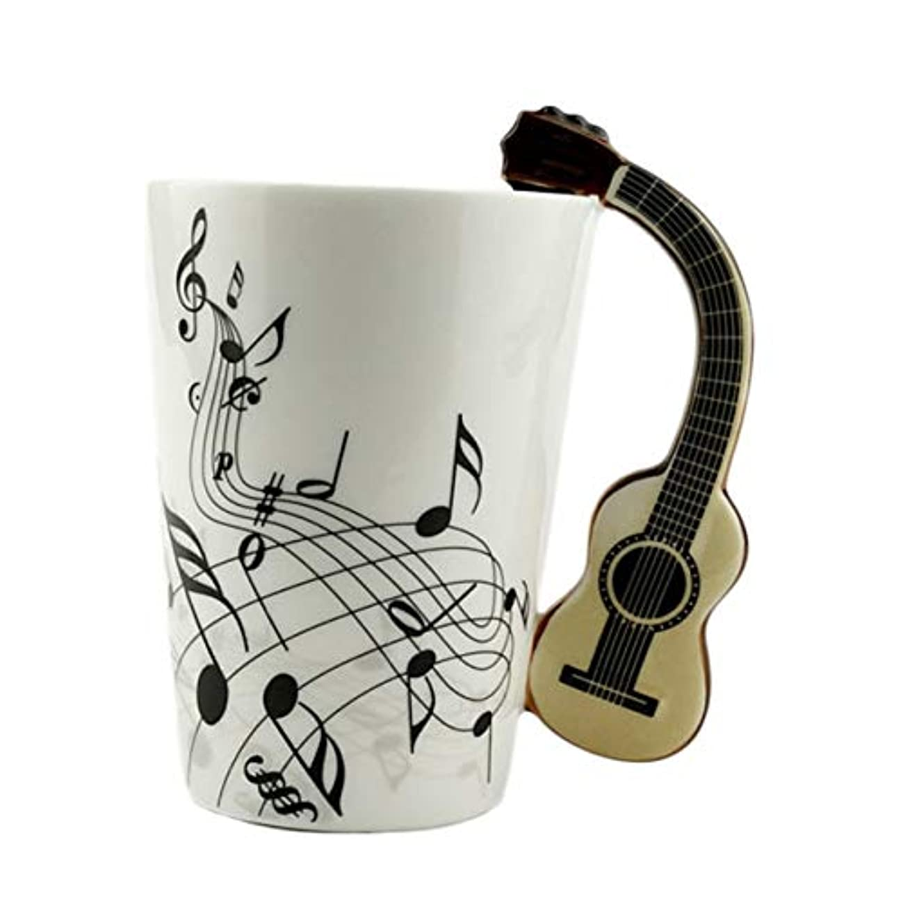 デュアル入浴喉頭Saikogoods ノベルティアートセラミックマグカップ楽器は スタイルのコーヒーミルクカップクリスマスギフトホームオフィスカップ グラスに注意してください。 ホワイトボディギター