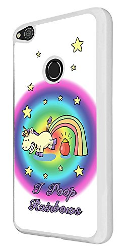002195 - Funny I Poop Rainbows Colourful Whimsical Cartoon Pot Of Gold Design For Huawei P8 Lite (2017) レザー手帳型ケース ダイアリー カード 収納 ポケット スロット スタンド 財布型