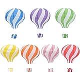 パーティー イベント 装飾用 紙ちょうちん ペーパーランタン 熱気球型 折りたたみ 紙提灯 誕生日 パーティー イベント レインボー 虹 直径30cm (7個セット)