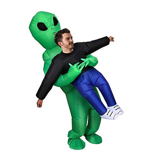 コスプレ ハロウィン エイリアン 着ぐるみ インフレータブル 空気充填 膨らむ 衣装セット 変装 仮装 大人用 面白グッズ ジョークグッズ ものまね クリスマス プレゼント イベント パーティー USB携帶充電サポートです(Green-aliens)