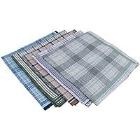 F Fityle 5pcs Men's 100% Cotton Plaid Checks Print Handkerchiefs Pocket Square Hanky