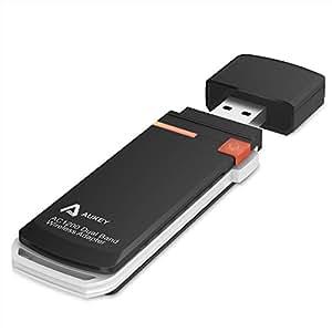 AUKEY 無線LAN 親機 WiFi 子機 (USB3.0アダプター型) 高速モデル 11ac/n/a/g/b 866Mbps デュアルバンド MacOS X10.8/10.7/10.6対応 日本語取説PDF WF-R6