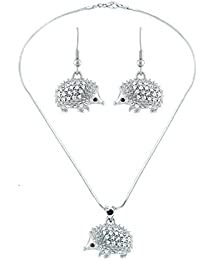 Lola Bella Gifts Crystal Hedgehog Necklace and Earrings Set with Gift Box