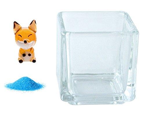 [해외]꽃 시장 다이렉트 메일 미니어처 유리 여우 &  칼라 샌드 블루 &  관목 용 글라스 뉴 블록 S/Flower market Direct shipment Miniature glass Fox &  Color sand blue &  glass for implantation New block S