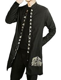 maweisong メンズリネン刺繍カーディガン中国風のコート?トレンチコート
