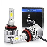 LED車のヘッドライト電球キット,アップグレードされた明るい白ヘッドライトバルブ, LED車のヘッドライト電球オールインワン変換キット,72W 8000LM 6000KLEDヘッドライト電球 (2個/セット) (H11)