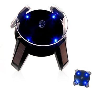 LEDライト付き小型ソーラー回転台 ターンテーブル ソーラー型フィギュア回転スタンド ブラック
