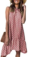Fly Year-JP Women Round Neck Ball Gown Patchwork Ruffle Sleeveless Printing Mid Dress Pink S