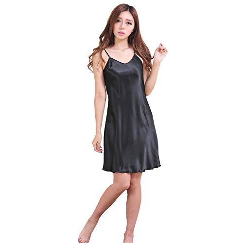 Black Omen (ブラックオーメン) 光沢あり シンプル 肩紐アジャスター あり 膝上 ショート丈 ノースリーブ ストレートライン スリップ(レディース、女性用)サテン(黒色(ブラック)、XL)on030/bk/xl