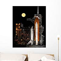 Nearly Full Moon Sets Wall Mural by Wallmonkeys Peel and Stick Graphic (36 in H x 29 in W) WM28685 [並行輸入品]