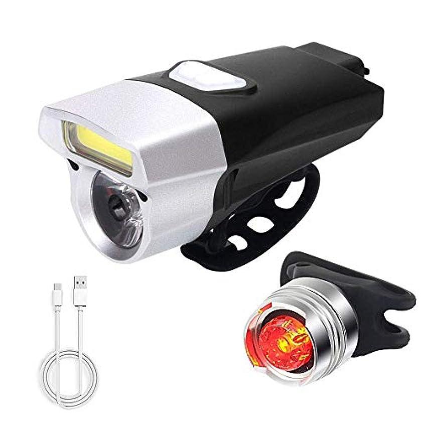 プラスチック霜降下LED自転車用ライト、15のライティングモード付き防眩150ルーメン自転車ライト、USB充電式フロントおよびリアライトセット、ナイトライダー用防水バイクライト、サイクリングおよびキャンプ