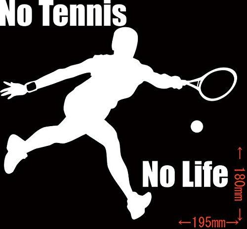 ノーブランド品 No Tennis No Life (テニス)ステッカー・ 9 約180mm×約19...