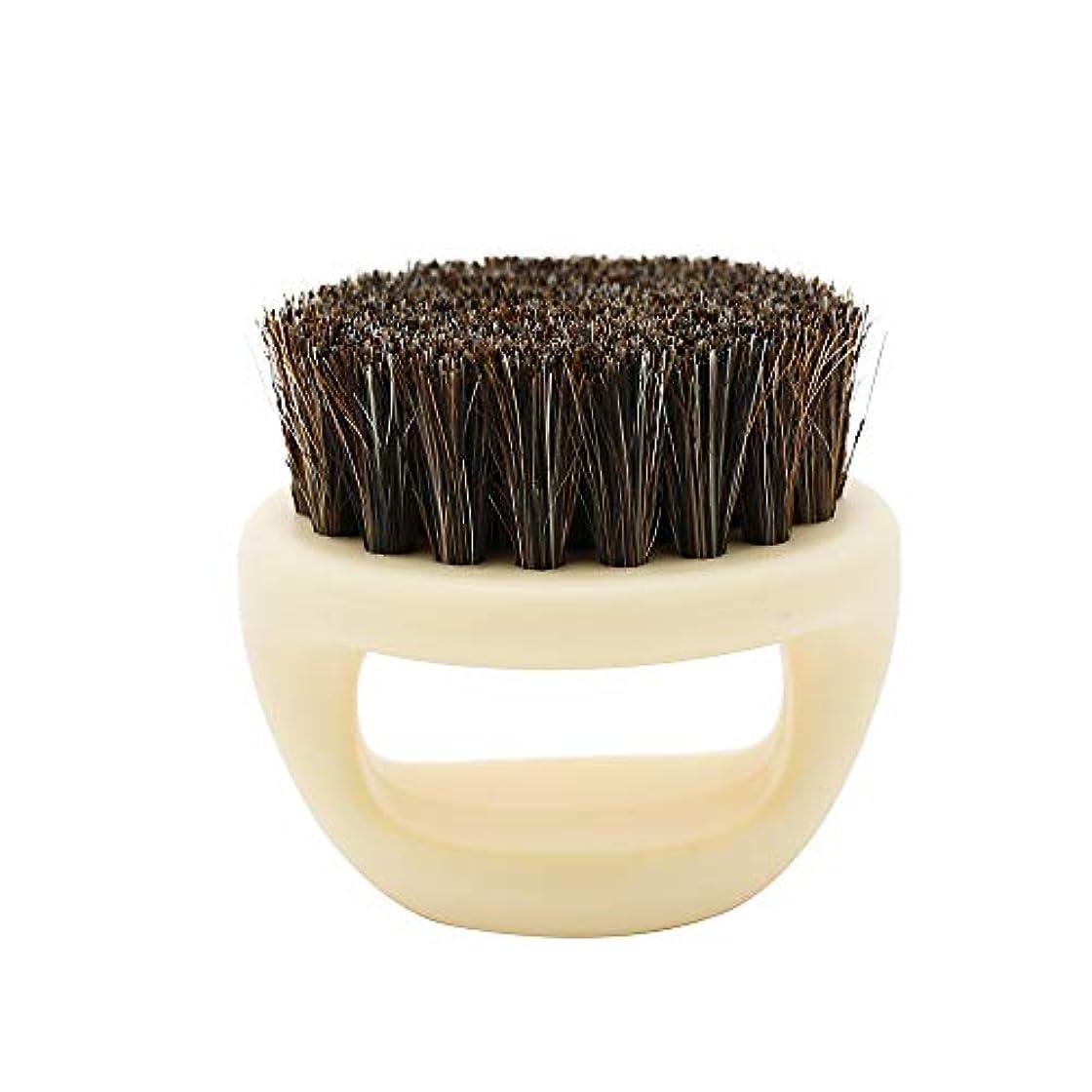 ねばねば複製する尊敬するGaoominy 1個リングデザイン馬毛メンズシェービングブラシプラスチック製の可搬式理容ひげブラシサロンフェイスクリーニングかみそりブラシ(ホワイト)