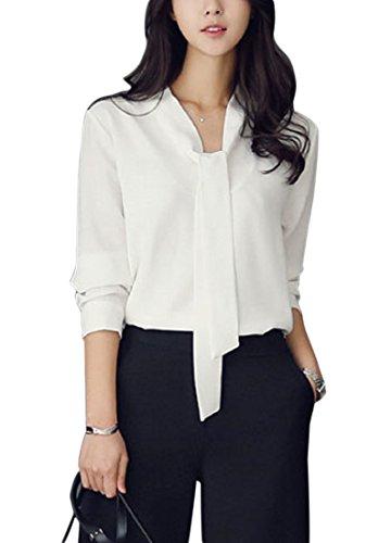 [ルナー ベリー] 長袖 シフォン ブラウス とろみ カットソー シャツ フォーマル レディース 3210 (XL, ホワイト) しろ 白 オフィス シャツ タイ 会社 ファッション オシャレ OL 3210 (XL, ホワイト)