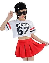 S5217子供上下セット2点 ダンスウェア ヒップホップ キッズ 女の子 トップス 半袖Tシャツ+パンツ ダンス衣装 ジュニア 大人から子供まで 身長110-180cm