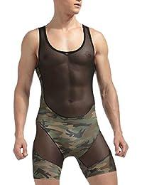 Fly Year-JP 男性の柔らかいメッシュ?パッチワーク?ボディスーツのエキゾチックなボクサーブリーフの薄手のレオタードスーツ下着