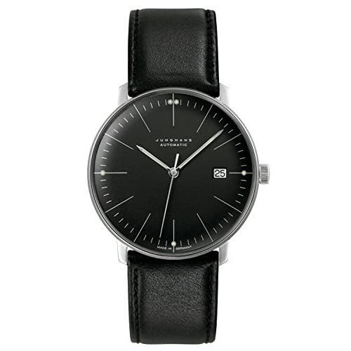 [ユンハンス]JUNGHANS 腕時計 マックスビル オートマティック ブラックダイアル ブラックレザー メンズ [並行輸入品]