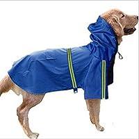 MBBペット犬レインコート防水コートジャケット反射縞模様セーフ (XL, 青)