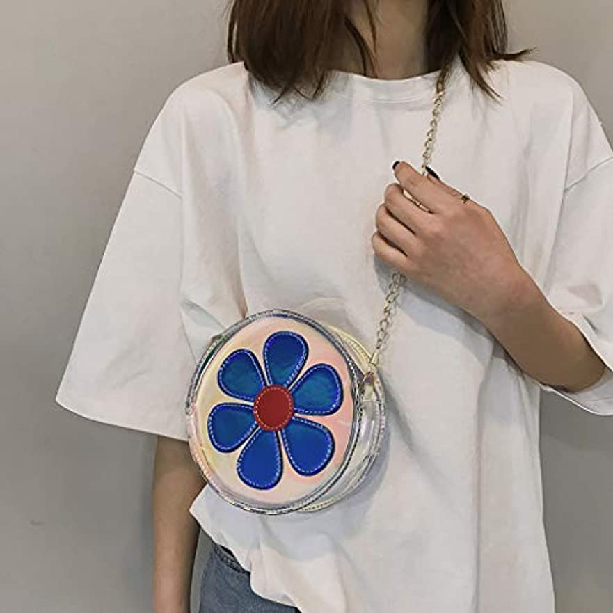 期限悩むハミングバード女性カジュアル野生透明花かわいいショルダーバッグメッセンジャーバッグ、ファッション女性透明レーザーフラワーショルダーバッグメッセンジャーバッグ (ブルー)