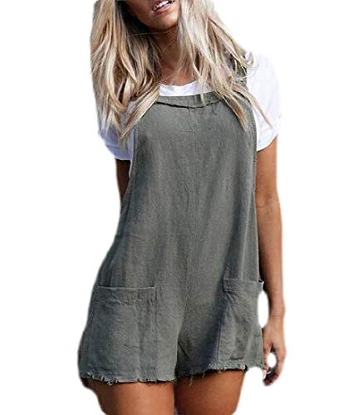 納屋人間遅れKeaac Women Solid Lace Up Overall Bib Shorts Jumpsuit Romper Playsuit With Pocket