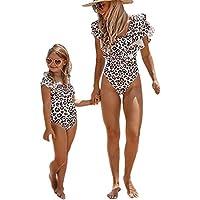 Seyurigaoka Mommy and Me Swimsuit One Piece Leopard Ruffle Bathing Suit Family Matching Swimwear Monokini